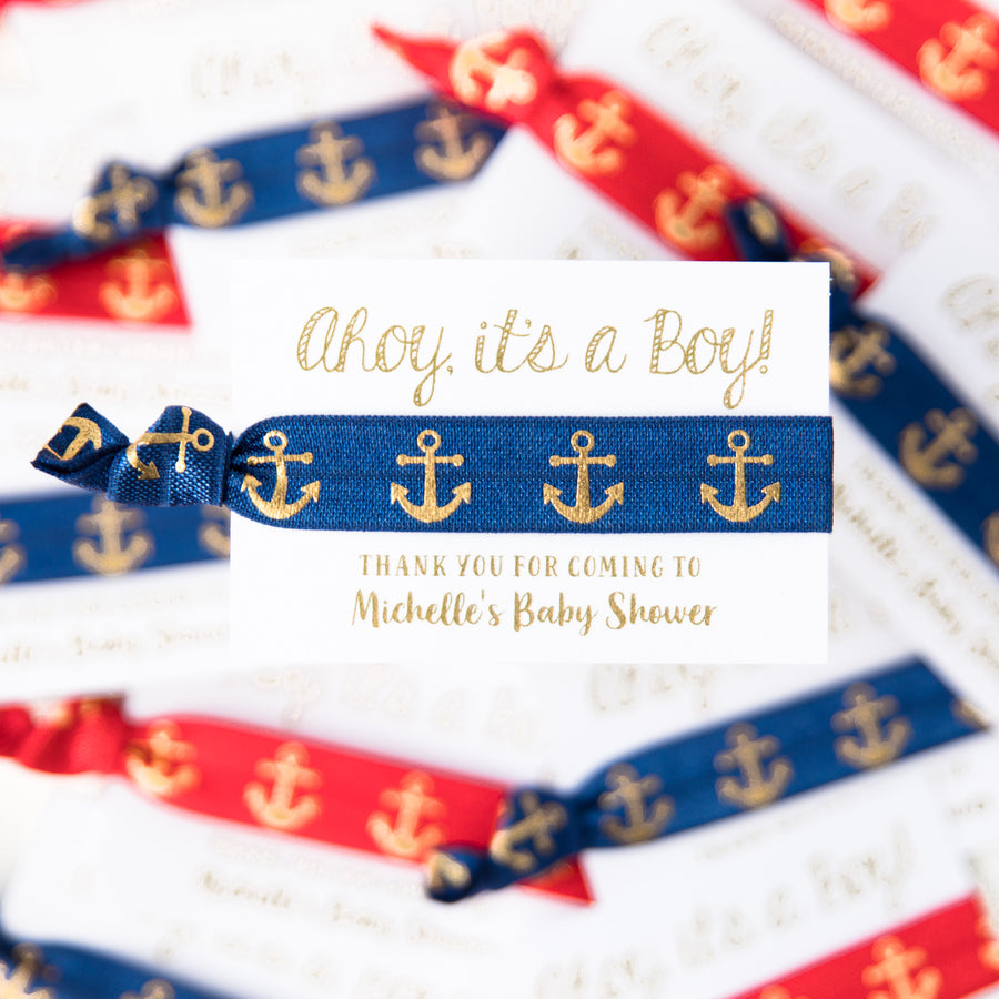 AHOY IT'S A BOY Nautical Red + Blue Hair Tie Favors