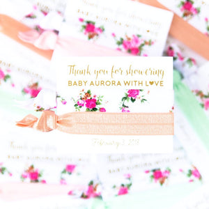 VINTAGE FLORAL Pastel Baby Shower Hair Tie Favors