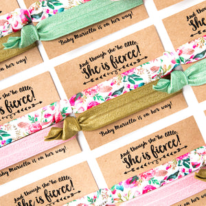 FLORAL Gold, Pink + Sage Baby Shower Hair Tie Favors