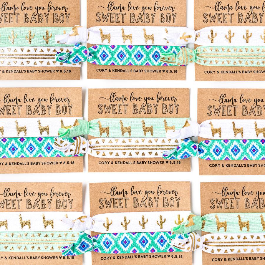 LLAMA Love You Forever | Sweet Baby Boy Shower Hair Tie Favor