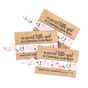 A Sweet Little Girl | Blush Floral Baby Shower Custom Hair Tie Favors