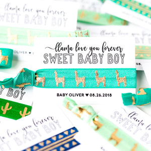LLAMA Love You Forever | Baby Boy Shower Hair Tie Favors