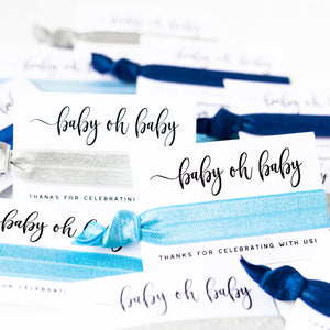 Baby Oh Baby! Blue Ombre Baby Shower Hair Tie Favors