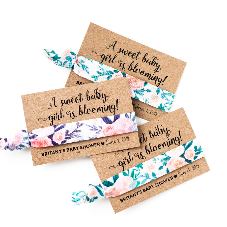 A Sweet Baby Girl is Blooming! | Personalized Baby Shower Hair Tie Favors