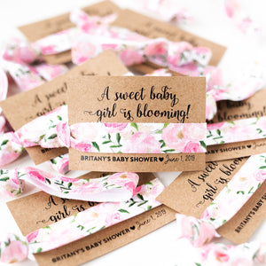 A Sweet Baby Girl is Blooming! | Custom Baby Shower Hair Tie Favors
