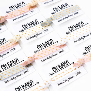 OH BABY! Neutral Boho Baby Shower Hair Tie Favors