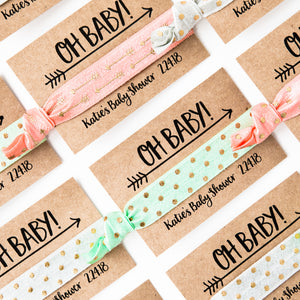 OH BABY! Boho Baby Shower Coral + Mint Hair Tie Favors
