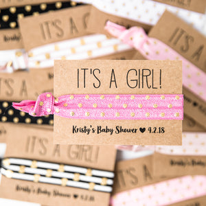 IT'S A GIRL Polka Dot Baby Shower Hair Tie Favors