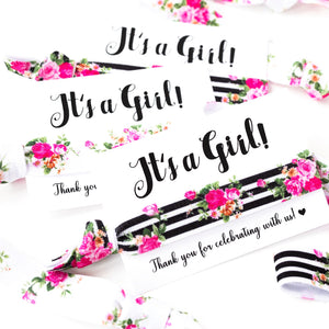 It's a Girl! Modern Floral Baby Shower Hair Tie Favors