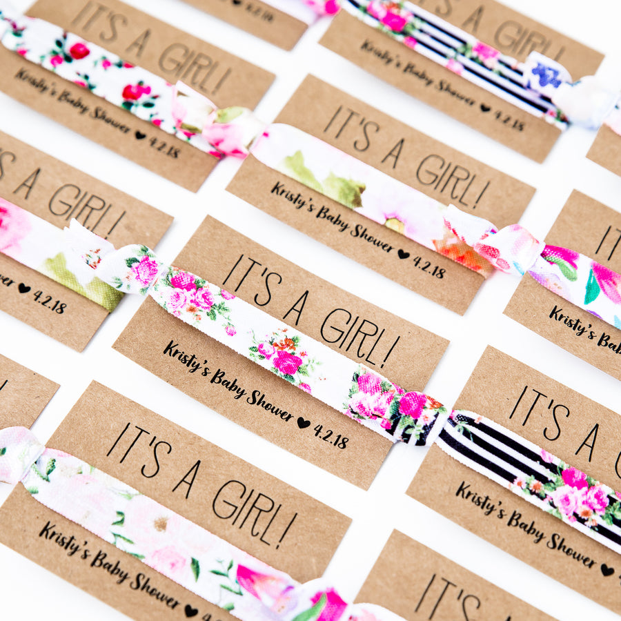 IT'S A GIRL Rose Floral Baby Shower Hair Tie Favors