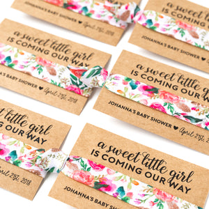 A Sweet Little Girl | Feathered Floral Baby Shower Custom Hair Tie Favors