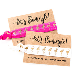LET'S FLAMINGLE Pink Bachelorette Hair Tie Favor