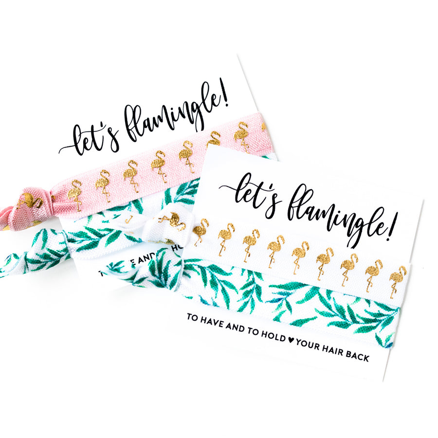 PALM LEAF Flamingo Bachelorette Hair Tie Favors