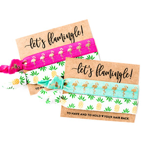 TROPICAL Pineapples + Flamingos Bachelorette Hair Tie Favors