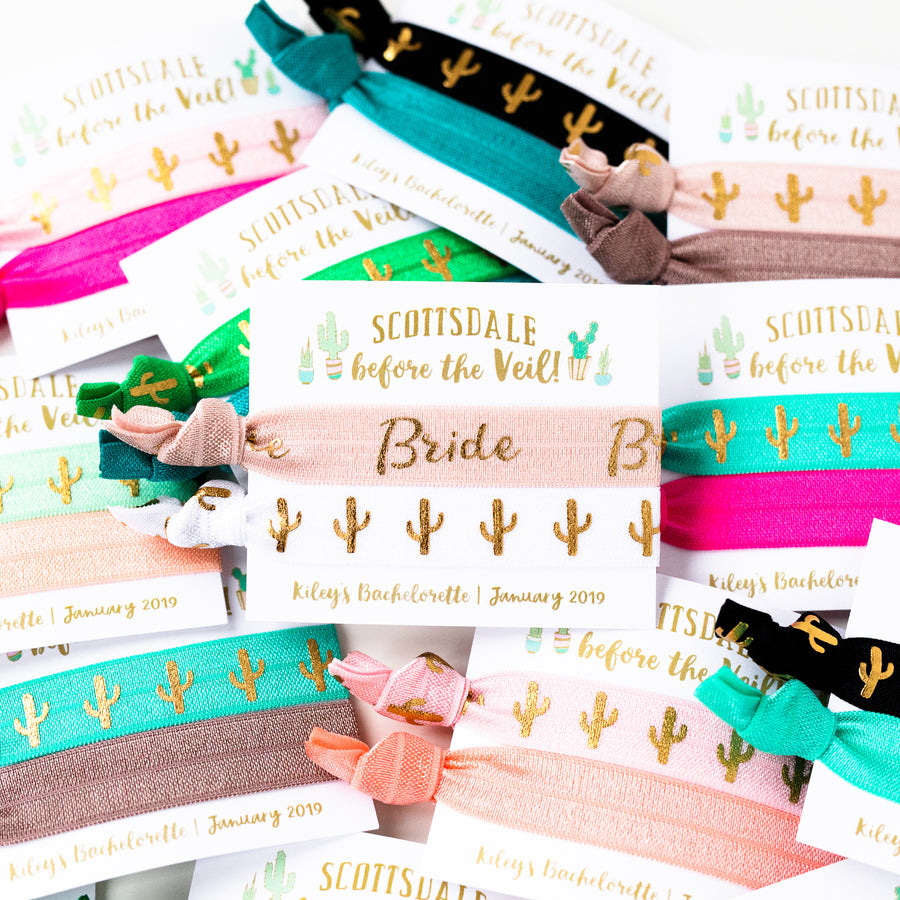 SCOTTSDALE Before the Veil | Cactus Bachelorette Hair Tie Party Favor