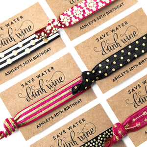 CUSTOM | WINE TOUR 21st + 30th Birthday Hair Tie Favors