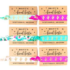 SCOTTSDALE Final Fiesta! Cactus Bachelorette Hair Tie Party Favors
