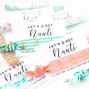 MERMAID Let's Get Nauti Bachelorette Hair Tie Favors