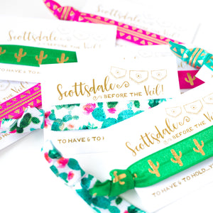 SCOTTSDALE Before the Veil | Cactus Bachelorette Hair Tie Party Favors