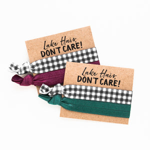 Lake Hair Don't Care! | Plaid Bachelorette Hair Tie Favors