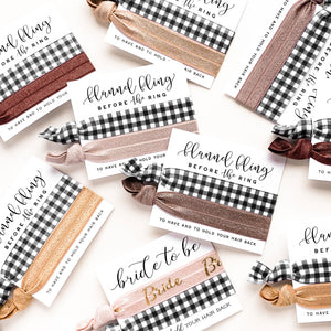 Flannel Fling Before the Ring | Winter Mountain Bachelorette Hair Tie Favors