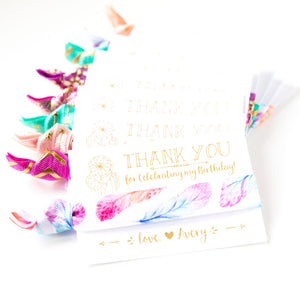 FEATHER Dream Catcher Personalized Birthday Hair Tie Favors