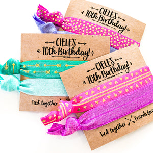 BOHO Birthday Personalized Hair Tie Favors