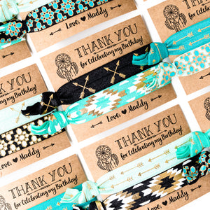 DREAMCATCHER Black + Turquoise Girls Birthday Hair Tie Favors