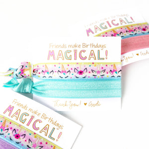 Magical Unicorn | Personalized Birthday Party Hair Tie Favors