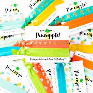 PINEAPPLE PARTY | Personalized Kid's Birthday Thank You Hair Tie Favors