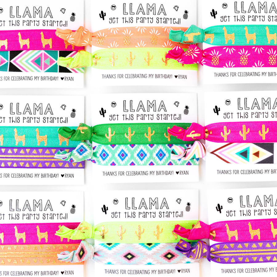 RAINBOW LLAMAS | Personalized Birthday Party Hair Tie Favors