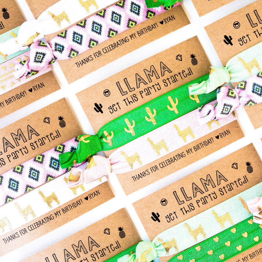LLAMA Party! Personalized Birthday Party Hair Tie Favors
