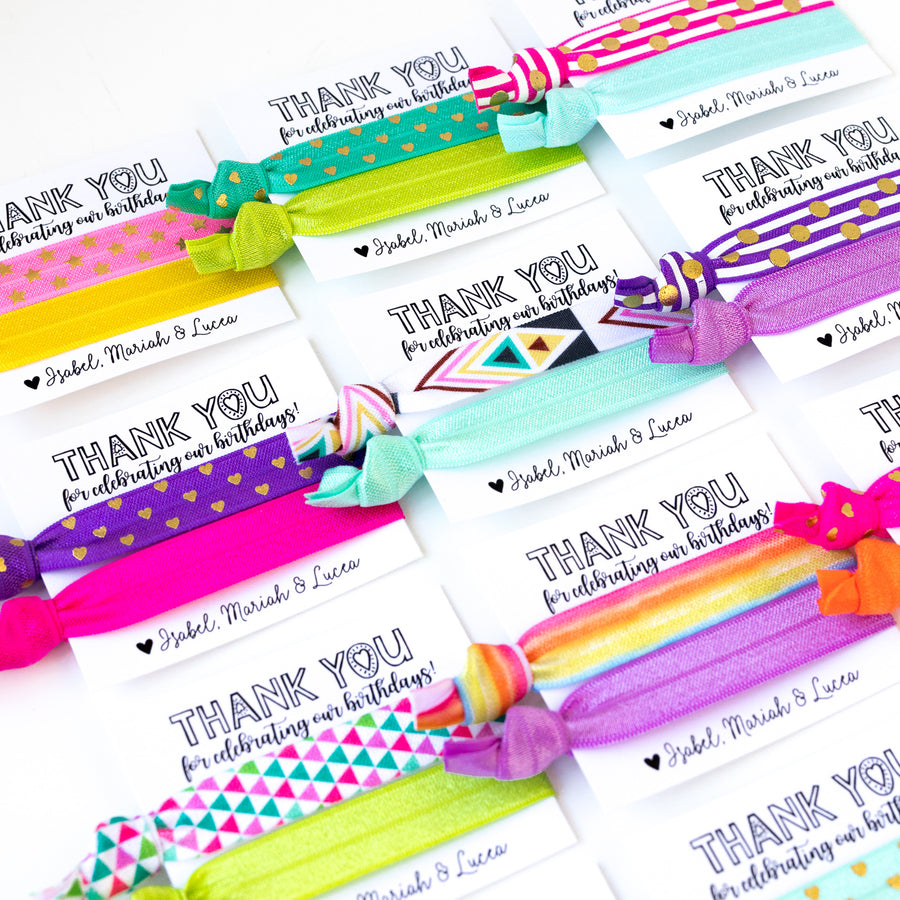 OMBRÉ Rainbow Birthday Hair Tie Favors