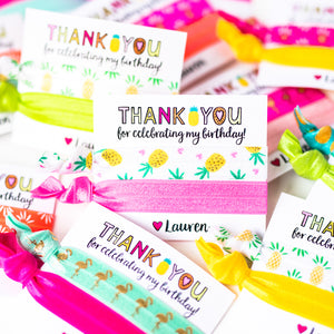 PINEAPPLE BIRTHDAY | Personalized Kid's Party Thank You Hair Tie Favors