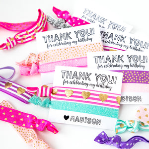 PASTEL Birthday Personalized Party Hair Tie Favors