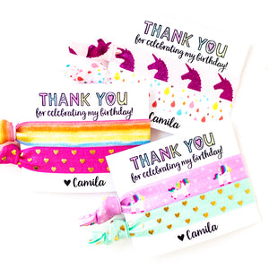 UNICORN Rainbow Personalized Birthday Party Hair Tie Favors