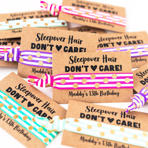 SLEEPOVER PARTY Personalized Birthday Hair Tie Favors