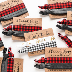 Flannel Fling Before the Ring | Plaid Bachelorette Hair Tie Favors