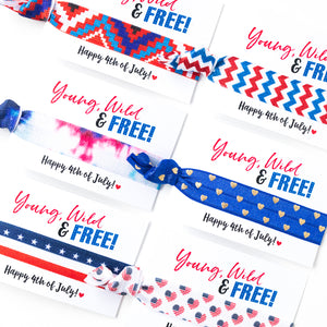 YOUNG WILD + FREE | Patriotic Party Hair Tie Favors