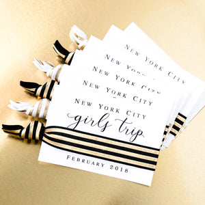 Gold Foil Hair Tie Favors || Girls Getaway Hair Tie Favors, 21st + 30th Birthday