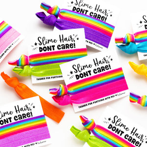 SLIME HAIR Don't Care! Rainbow Ombre Hair Tie Birthday Party Favors