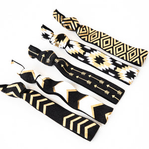 BLACK + GOLD TRIBAL | Hair Tie Gift Set