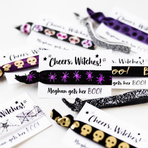 Cheers Witches! Bachelorette Halloween Party Hair Tie Favors
