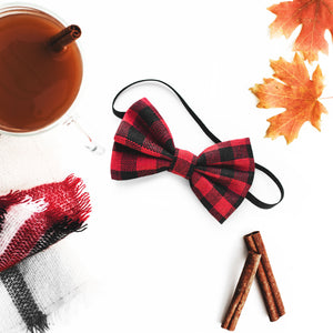 Red Buffalo Plaid Bow Headbands for Kids