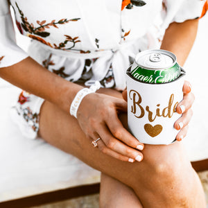 White + Gold Bride Drink Cooler