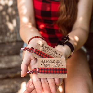 Glamping Hair Don't Care! Plaid Bachelorette Hair Tie Favors