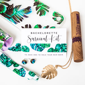 Palm Leaf Bachelorette Party Hair Tie Favors