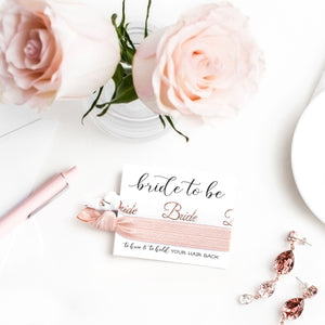 Rose Gold Bride to Be Engagement Gift | 2 Hair Tie Favor Card