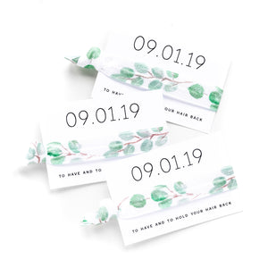 Save the Date | Eucalyptus Personalized Wedding Hair Tie Favors