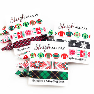 Sleigh All Day Stocking Stuffer | Elastic Hair Ties for Coworkers, Friends, Teens + Girls